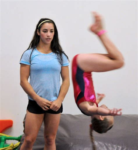 gymnasts flip for olympic gold medalist aly raisman at