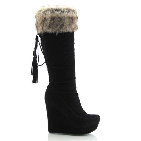 womens faux suede zip knee high platform high heel wedge