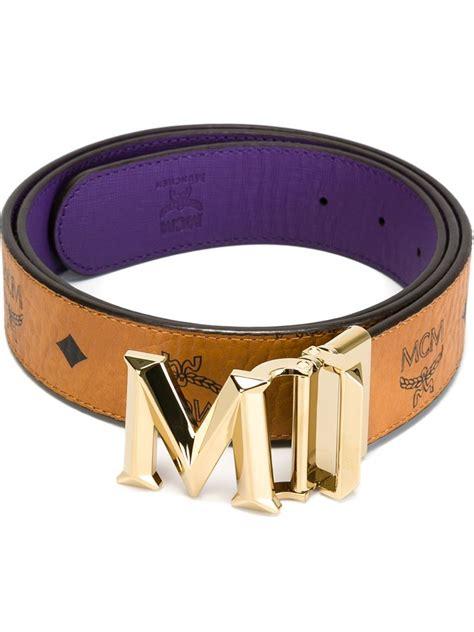 m logo designer belt mcm reversible logo belt in brown lyst