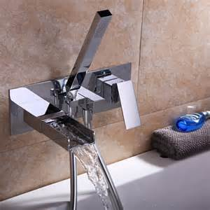 mero modern waterfall wall mount tub filler faucet