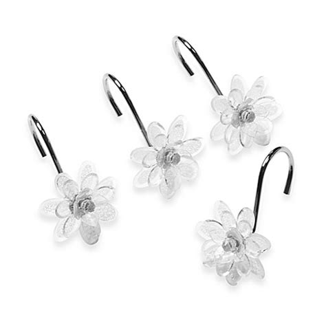Buy Steve Madden Clear Flower Shower Curtain Hooks Set Of