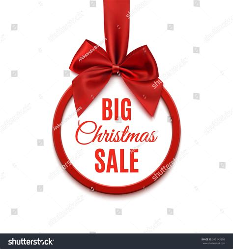 big christmas sale round banner with red ribbon and bow