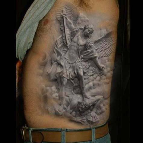 archangel tattoos for men grey ink side rib for tattooshunt