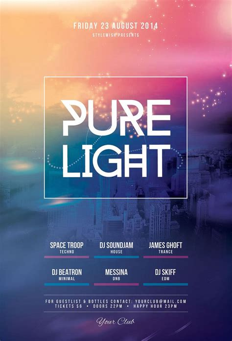 Design Event Flyer | pure light flyer event poster design minimalist and