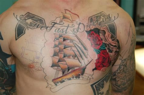 live fast die young tattoo live fast die color ink ship chest
