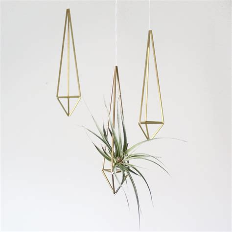 geometric hanging planter brass himmeli prism no 1 hanging modern mobile geometric ornament air plant hanging
