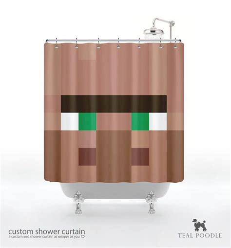 minecraft bathroom accessories villager shower curtain geekster mine craft video game