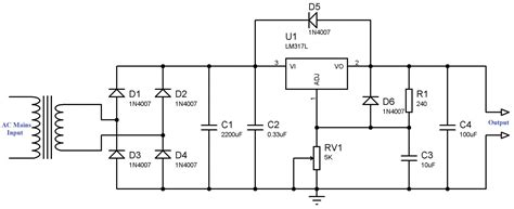 lm317 resistor wattage variable power supply using lm317 voltage regulator