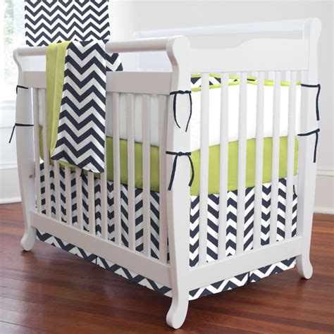 Modern Baby Boy Crib Bedding Baby Nursery Decor Navy Citron Modern Baby Nursery Bedding Zig Zag Mini White Stained Wooden