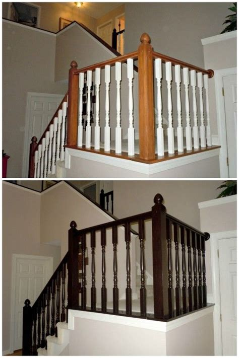 banister staircase how to redo an oak stair banister in java using gel stain