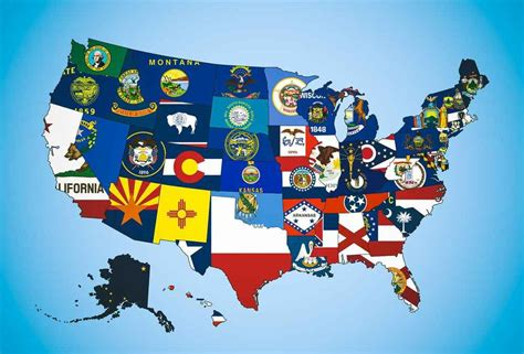 america map flags a map of the state flags of the united states of america