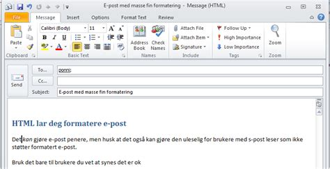 email format html or text write formatted e mail in outlook university of oslo