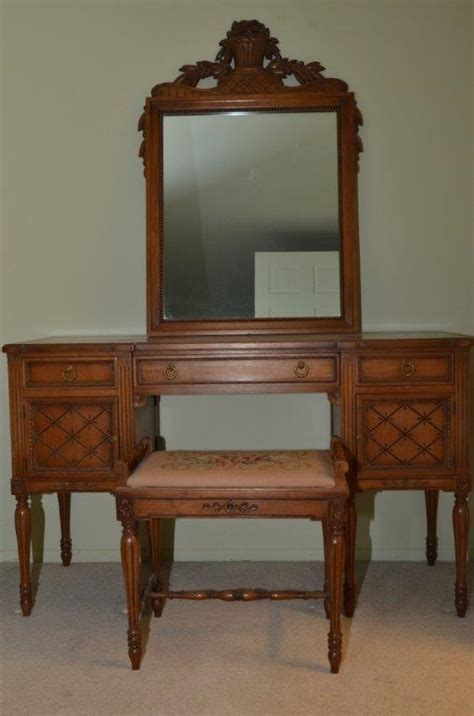 antique dutch woodcraft complete vanity set incl mirror