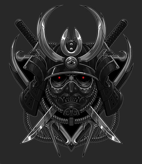samurai helmet tattoo the blackout samurai on behance illustration drawing