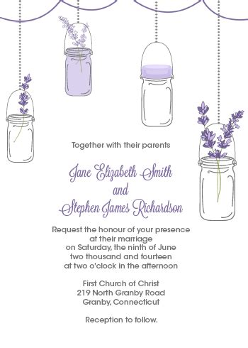 mason jar  lavender invitation