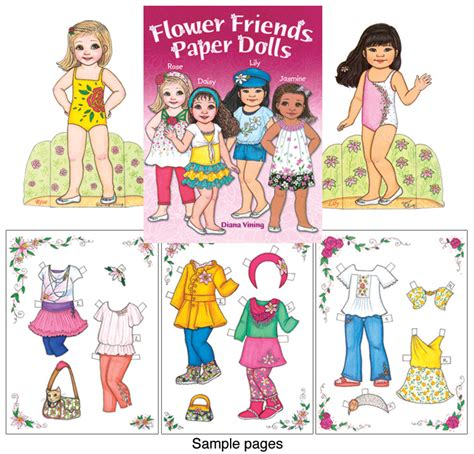 Friends Paper Dolls - flower friends paper dolls clothes for