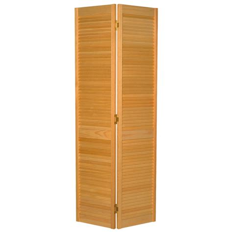 36 Bifold Closet Doors Shop Reliabilt Louvered Solid Pine Bifold Closet Door Common 36 In X 80 75 In Actual 35