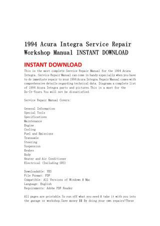 service repair manual free download 1999 acura integra auto manual 1994 acura integra service repair workshop manual instant download by jshfjsnnef issuu