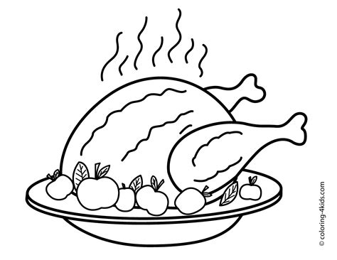 coloring page of fried chicken thanksgiving day turkey coloring pages for kids fried