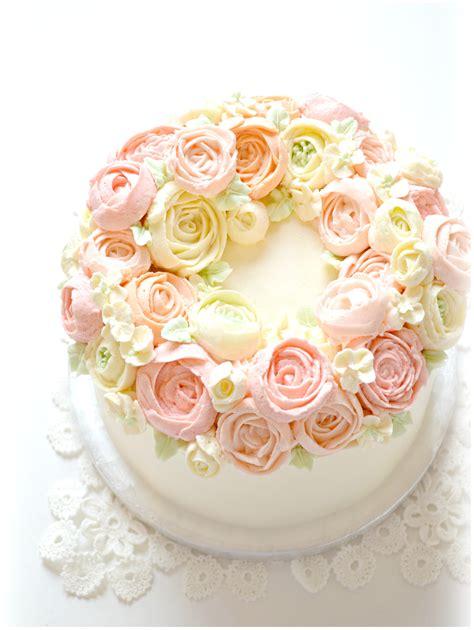 Wreath Style Korean Buttercream korean style buttercream flower wreath cake cherie ch 233 rie