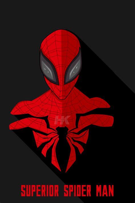 wallpaper superior spider man minimal dark background