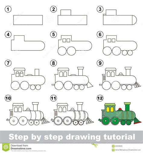 how to draw a boat engine how to draw a locomotive stock vector illustration of