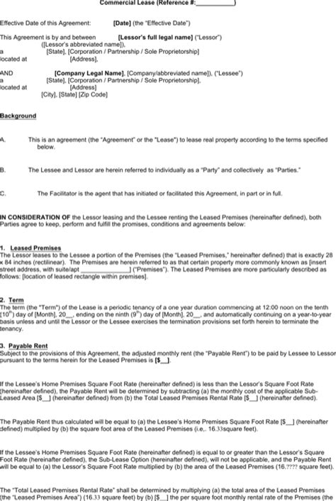 commercial sublease agreement template word word rental agreement templates for free