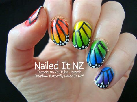 tutorial nail art rainbow tutorial rainbow butterfly nail art