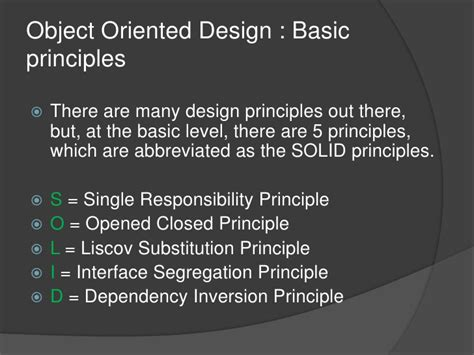 object oriented design principles object oriented design solid principles