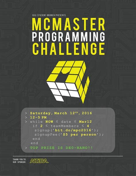 coding challenge mcmaster programming challenge this saturday software