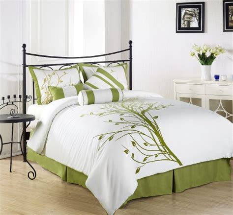 King Size White Duvet Cover Set Sell Chezmoi Collection 7 Pieces Green Tree On White Duvet