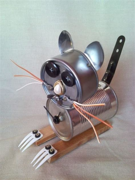 Found Object Junk Critters And Science Experiments Recycled Eye Cat Table Clock Junk Sculpture Home Decor