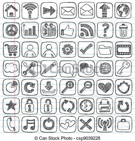 doodle sign vector of web icons signs sketchy doodle set sketchy