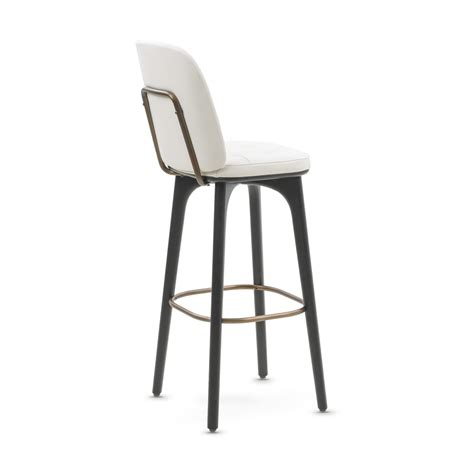 Bar Stool With Backrest Utility Bar Stool With Backrest White Leather Medium Stellar Works Touch Of Modern