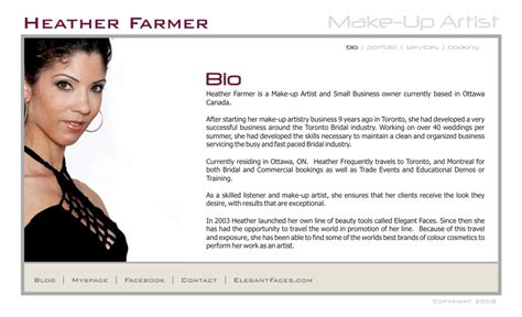 makeup artist bio template farmer make up artist bio