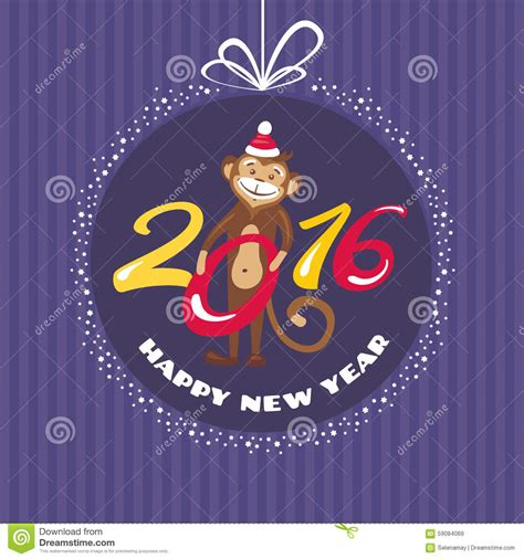 new year monkey greeting card new year greeting card with monkey stock vector image