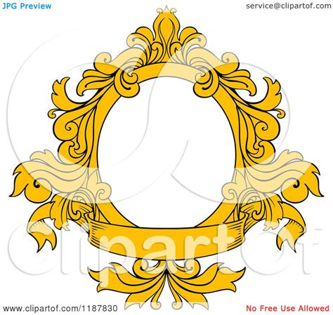 Frame Clipart 1208054 Illustration By by Clipart Of A Vintage Yellow Oval Frame With Floral Leaves