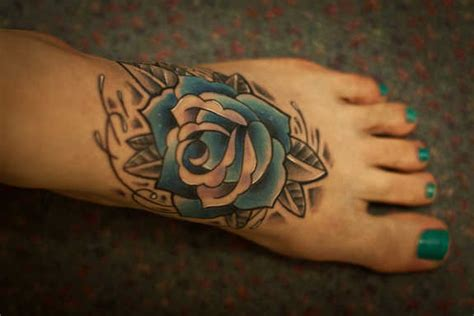 blue rose tattoo on foot 37 exclusive blue tattoos and designs