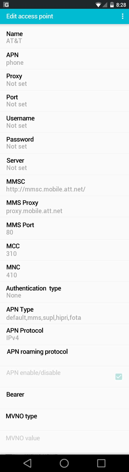 at t apn settings android at t samsung galaxy s6 and apn settings for united states apn settings usa