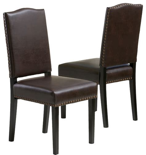 Leather Contemporary Dining Chairs Stuart Brown Leather Dining Chair Set Of 2 Contemporary Dining Chairs By Great Deal Furniture