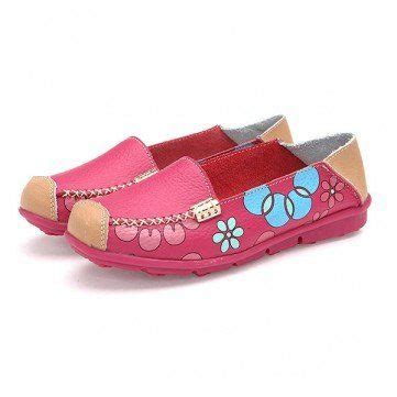 beautiful and comfortable shoes leather floral print color match soft sole comfortable