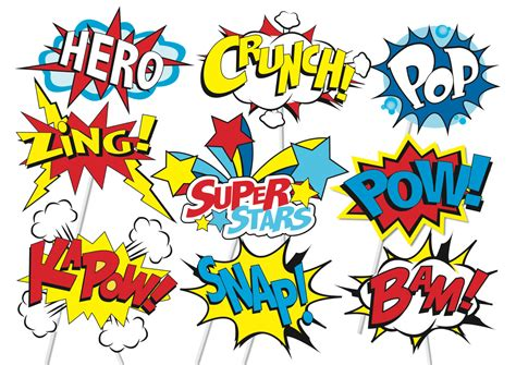 printable photo booth props superhero superhero action party photo booth props or superhero cake