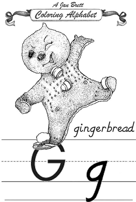 coloring alphabet modern gingerbread baby