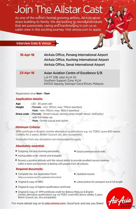 Resume Job Grouping by Airasia Cabin Crew Walk In Interview Malaysia April