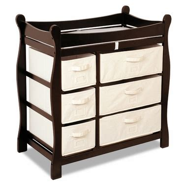 Badger Basket Baby Changing Table With Six Baskets Sleigh Changing Table With Six Baskets Espresso 2414 By Badger Basket Changing Tables At