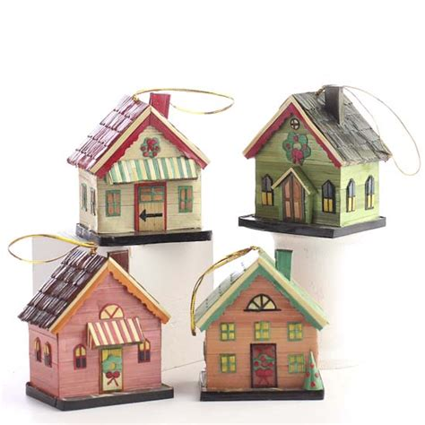 miniature holiday village house ornaments christmas and