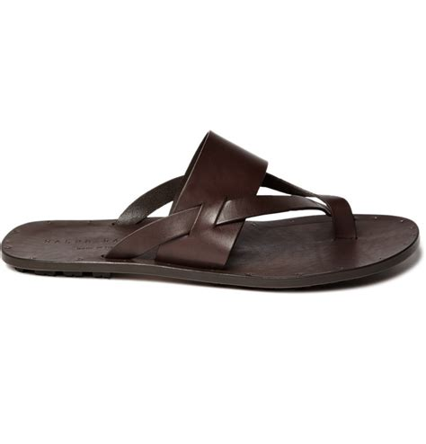 mens polo sandals polo ralph leather sandals in brown for