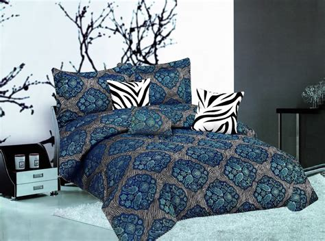 blue zebra print comforter set resell 7pc paisley zebra animal print faux silk