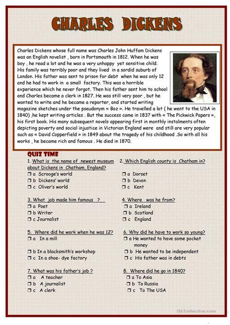 charles dickens biography reading comprehension charles dickens worksheet free esl printable worksheets