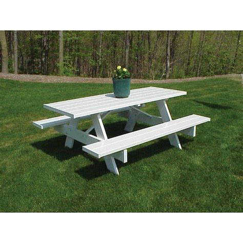 vinyl picnic table duratrel dura trel tables 6 ft white vinyl patio picnic